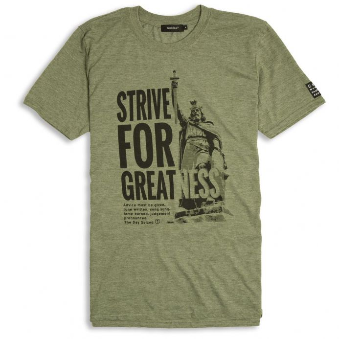 Strive For Greatness England T-shirt - Alfred the Great - Military Green with Anglo-Saxon wording
